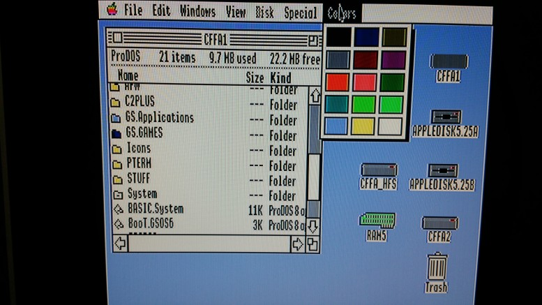 The GS/OS screen looks quite good with a SCART connection, including a solid wallpaper color and sharp text. Look close at text for some JPG Artifacting.